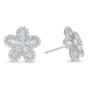 Round and Baguette Diamond Floral Earrings, 1.59 ct - R&R Jewelers