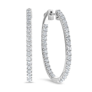 Inside Out Oval Diamond Hoops Earrings - R&R Jewelers