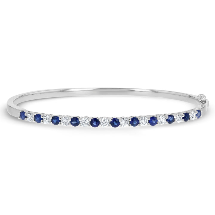 Alternating Diamond and Sapphire Bangle Bracelet - R&R Jewelers