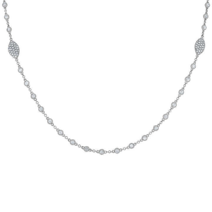 Bezel Set Milgrain Diamond Station Necklace - R&R Jewelers