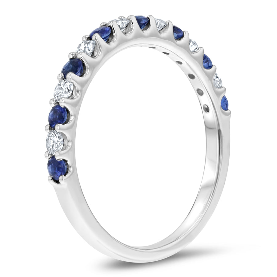 Alternating Sapphire and Diamond Halfway Band - R&R Jewelers