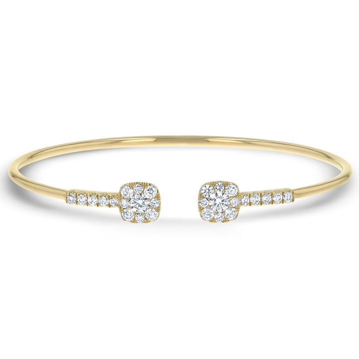 Diamond Cushion Cuff Yellow Gold Bangle - R&R Jewelers