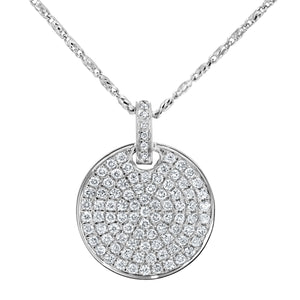Pave Diamond Disc Pendant, 0.66 ct - R&R Jewelers