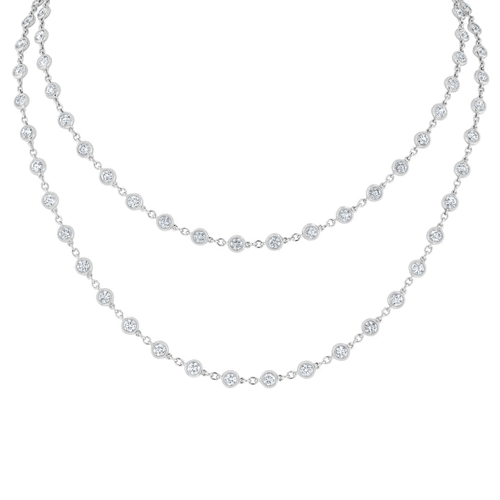 Bezel Set Diamond Station Necklace - R&R Jewelers