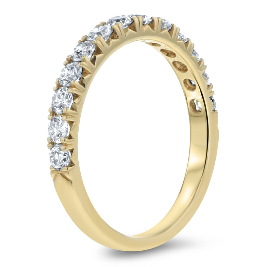 Half Way Diamond Wedding Band, 0.76 ct