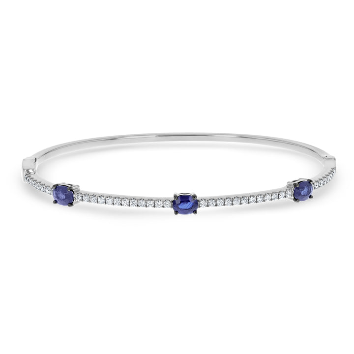 Diamond and Sapphire Station Bangle - R&R Jewelers