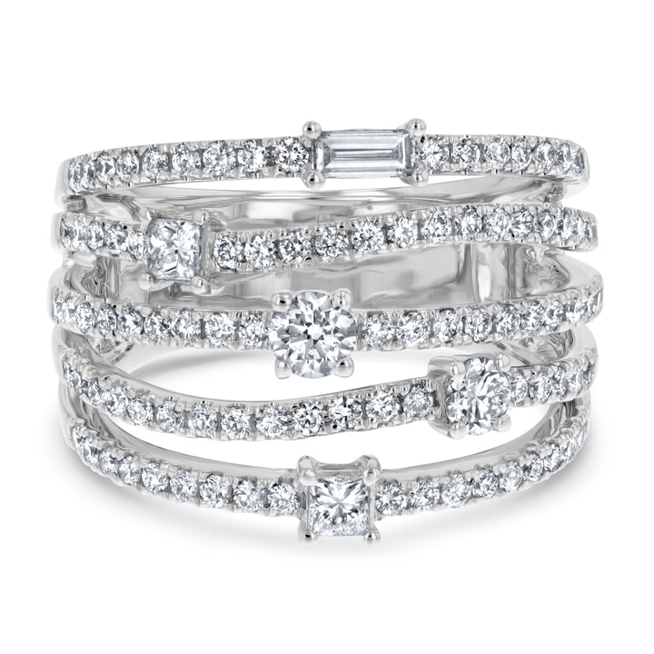 Baguette, Princess Cut, and Round Diamond Stack Ring - R&R Jewelers