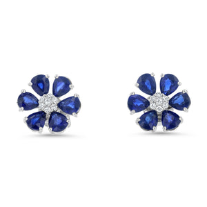 Diamond and Sapphire Floral Stud Earrings - R&R Jewelers
