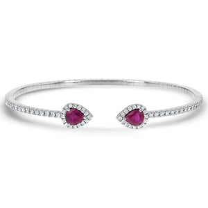 Diamond and Ruby Cuff Bangle - R&R Jewelers