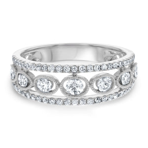 Art Deco Three Row Diamond Ring - R&R Jewelers