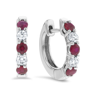 Alternating Diamond and Ruby Huggie Earrings - R&R Jewelers