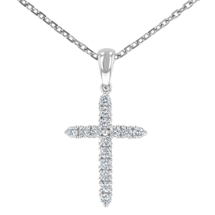 Round Brilliant Diamond Cross Pendant, 0.21 Carats - R&R Jewelers
