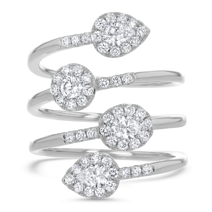 Pear and Round Cluster Diamond Spiral Statement Ring - R&R Jewelers