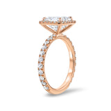 Rose Gold Asscher Cut Diamond Halo Engagement Ring