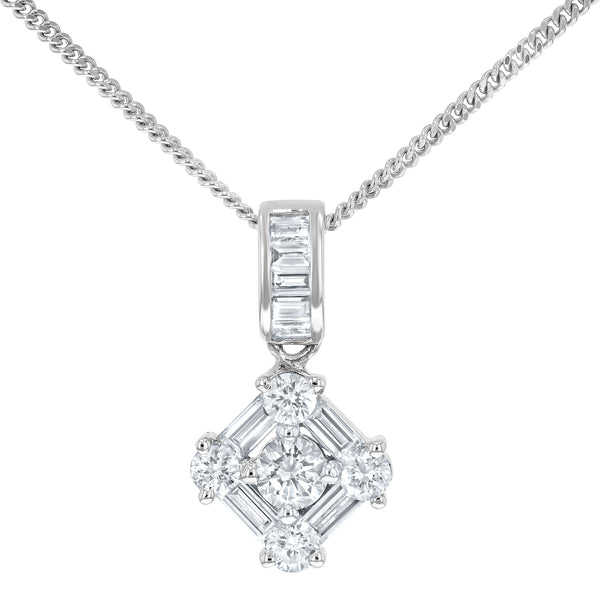 Round and Baguette Diamond Pendant - R&R Jewelers