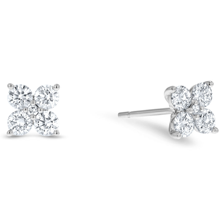 Diamond Clover Stud Earrings, 0.80 ct - R&R Jewelers
