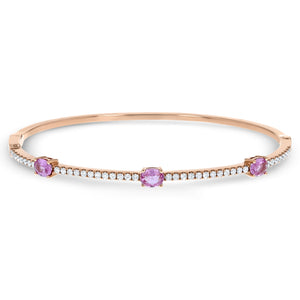 Diamond and Pink Sapphire Bangle - R&R Jewelers