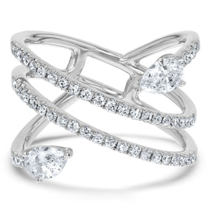 Pear Diamond Spiral Statement Ring - R&R Jewelers