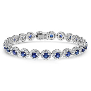 Diamond and Sapphire Link Bracelet (Custom 2-4 Weeks)