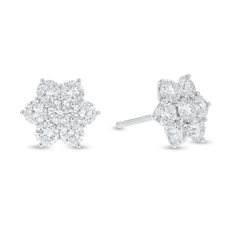 Floral Diamond Halo Cluster Stud Earrings, 1.70 ct (E1623)