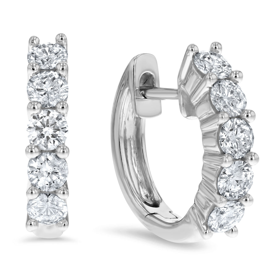 Diamond Huggie Earrings, 0.74 ct - R&R Jewelers