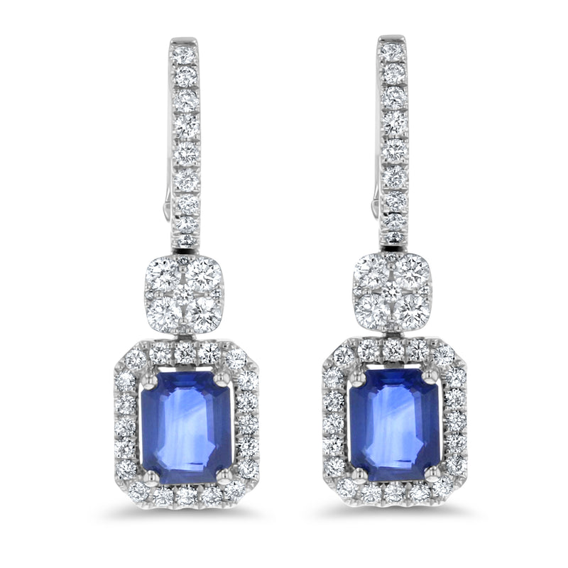 Diamond And Radiant Cut Sapphires Drop Earrings (E4057)