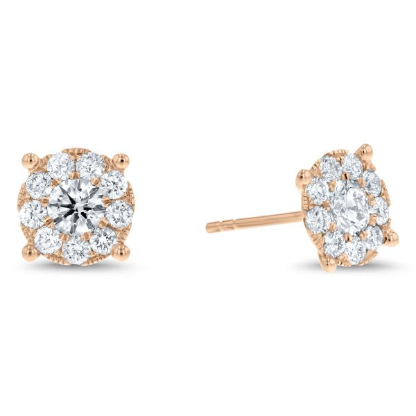 Round Diamond Cluster Stud Earrings, 1.23 ct (E4083)