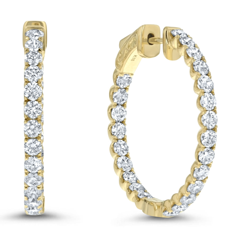 Inside Out Diamond Hoop Earrings, 2.19 ct - R&R Jewelers