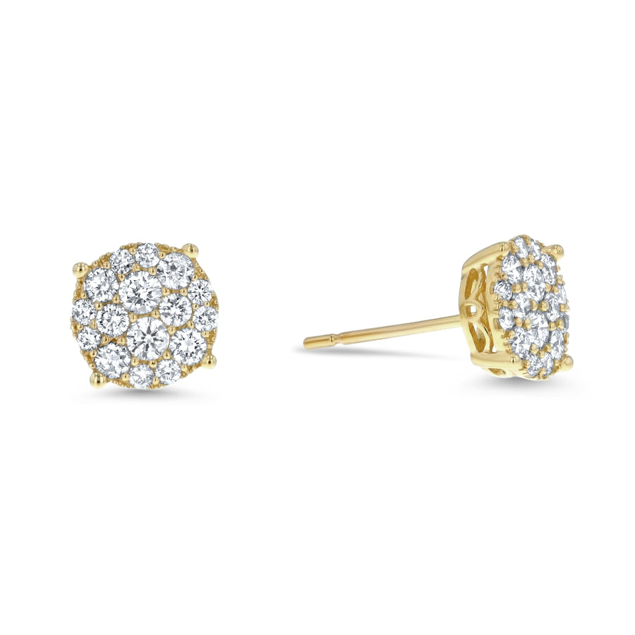 Diamond Graduated Cluster Stud Earring, 0.80 Carats - R&R Jewelers