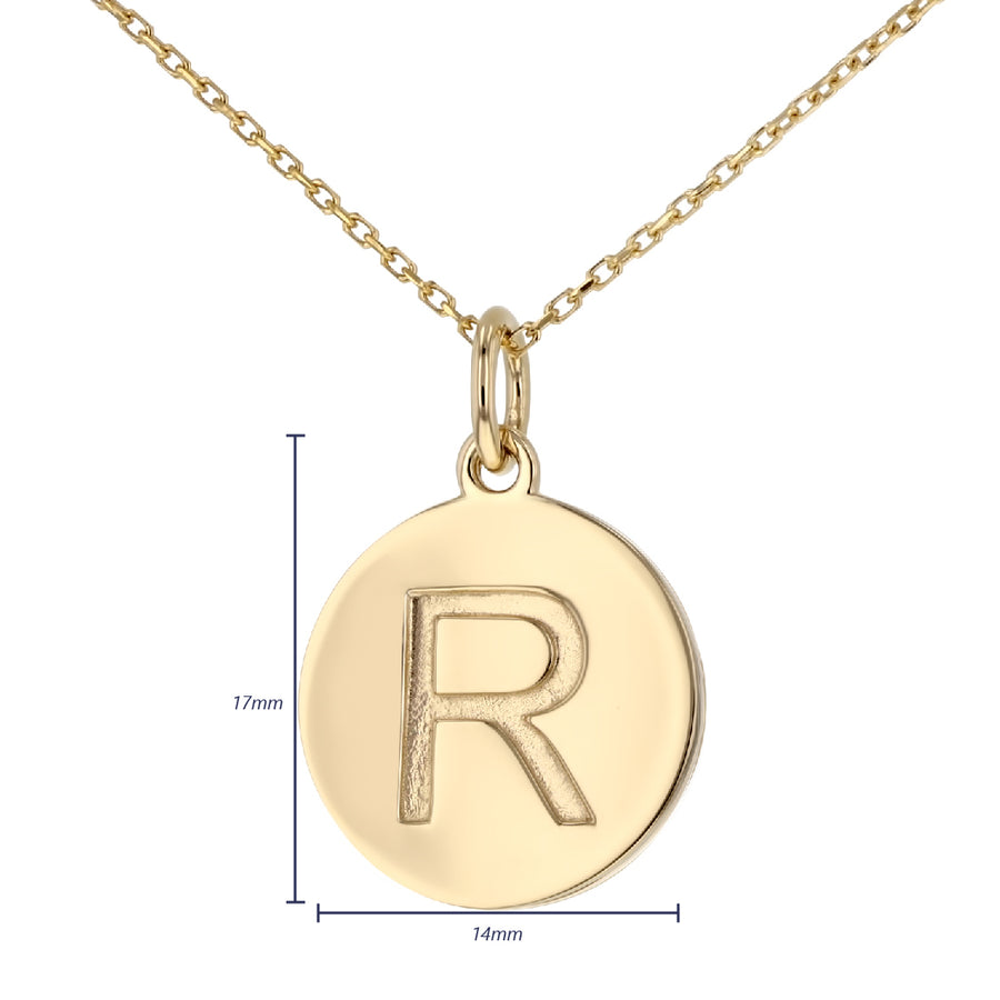 Uppercase Initial Disc Pendant in 14K Gold - No Diamonds