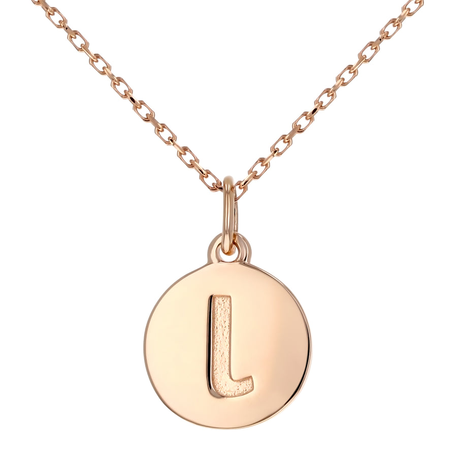 Lowercase Initial Disc Pendant in 14K Gold - No Diamonds