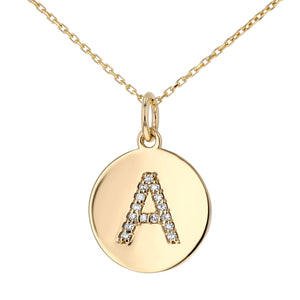 Uppercase Initial Disc Pendant in 14K Gold - With Diamonds