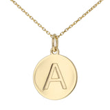 Uppercase Initial Disc Pendant in 14K Gold - No Diamonds - R&R Jewelers