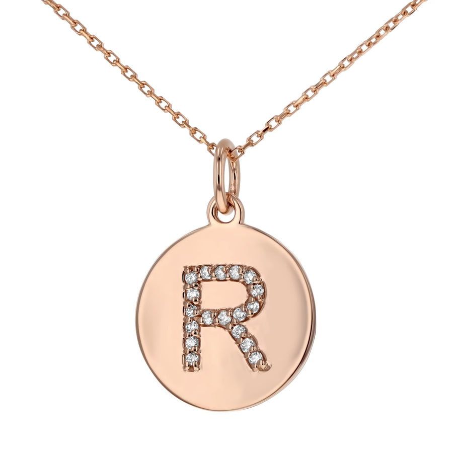 Uppercase Initial Disc Pendant in 14K Gold - With Diamonds - R&R Jewelers