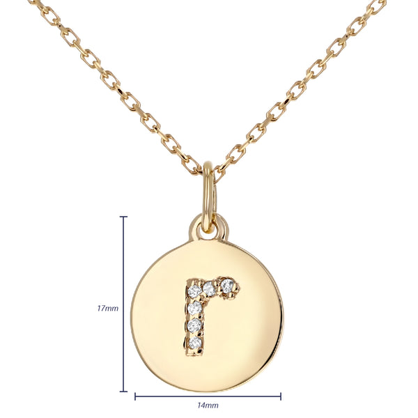 Lowercase Initial Disc Pendant in 14K Gold - With Diamonds - R&R Jewelers