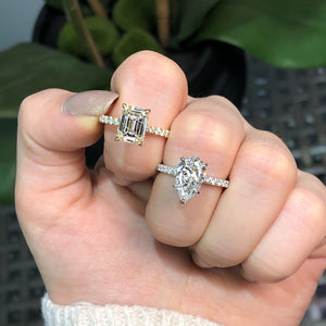 Emerald Cut Pavé Diamond Engagement Ring