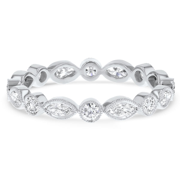 Marquise and Round Alternating Bezel Set Band - R&R Jewelers