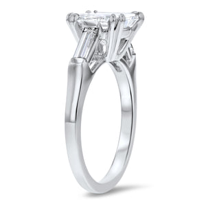 Three-Stone Cushion Cut with Baguette Sidestones Engagement Ring