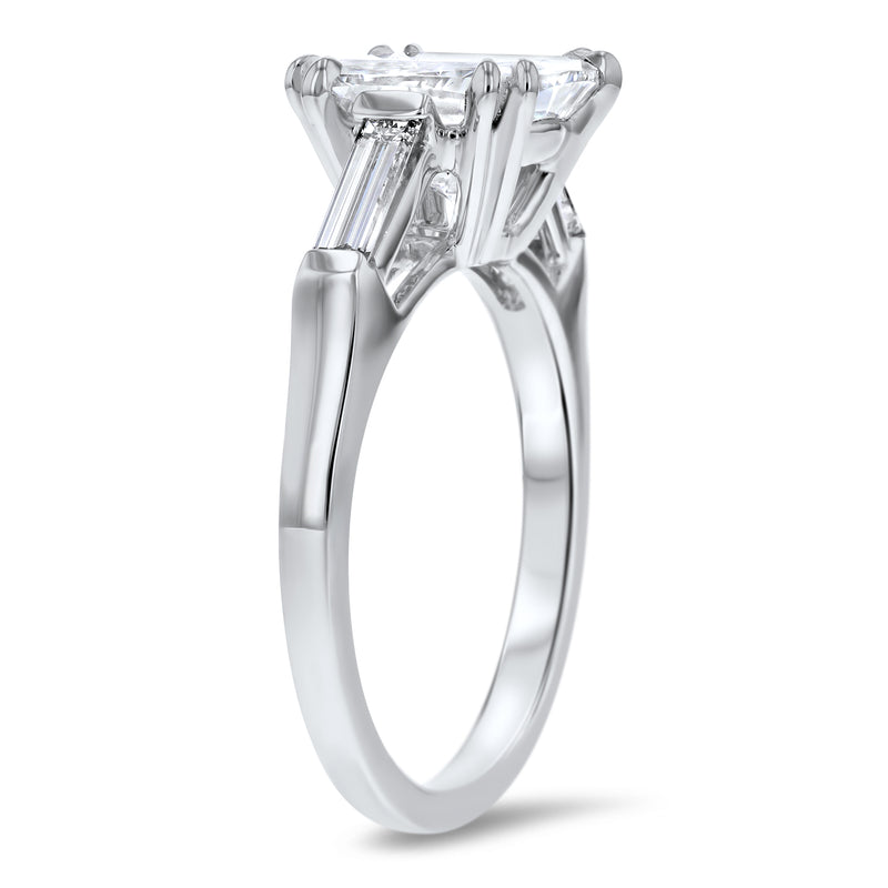 Three-Stone Cushion Cut with Baguette Sidestones Engagement Ring - R&R Jewelers