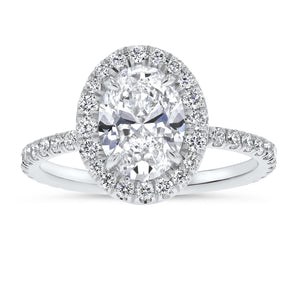 Oval Halo Pavé Diamond Engagement Ring - R&R Jewelers