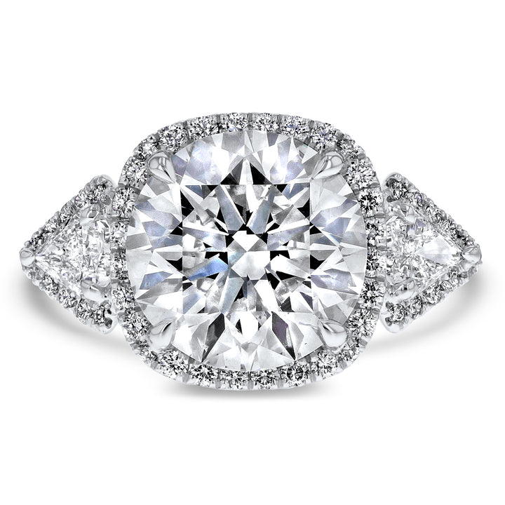 Three Stone Cushion Halo Round Brilliant Engagement Ring - R&R Jewelers