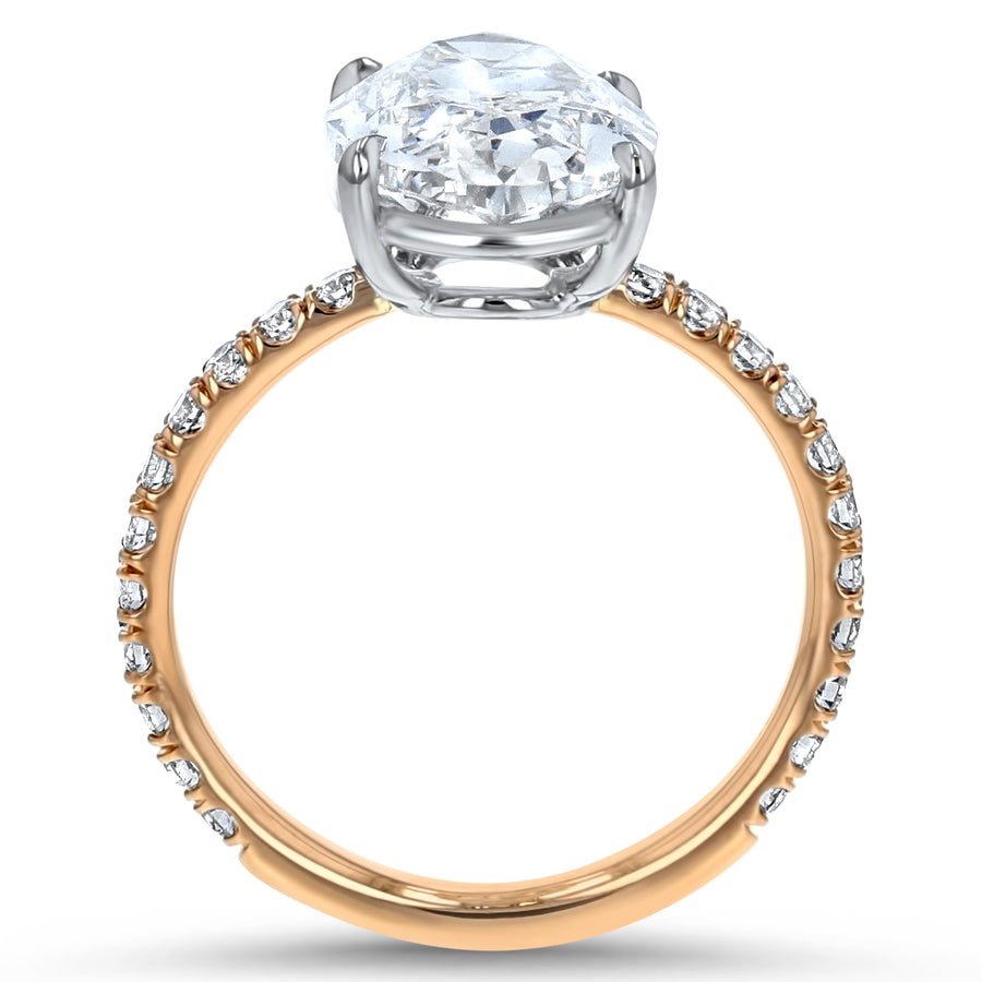 Oval Diamond Solitaire with Pavé Sidestones Engagement Ring - R&R Jewelers