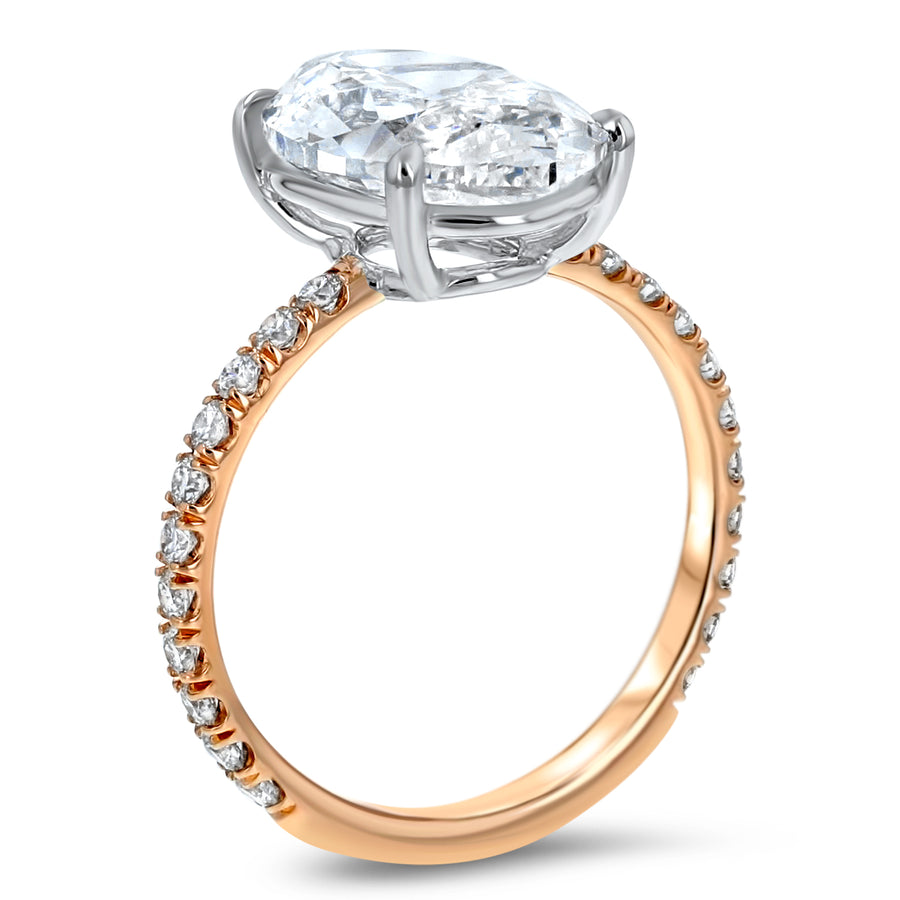 Oval Diamond Solitaire with Pavé Sidestones Engagement Ring