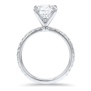 Round Brilliant Four Prong Pavé Engagement Ring - R&R Jewelers