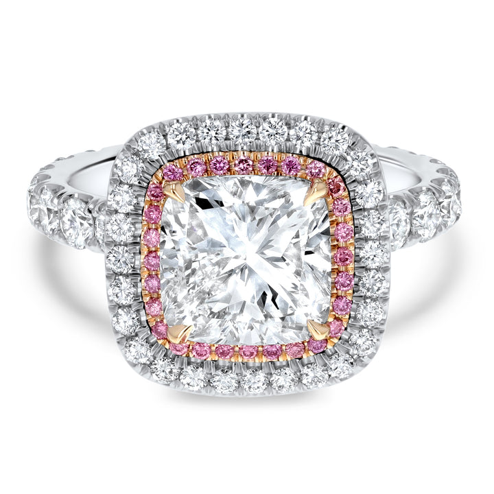 Two-Tone Cushion Cut Double Halo Pink Diamond Engagement Ring - R&R Jewelers