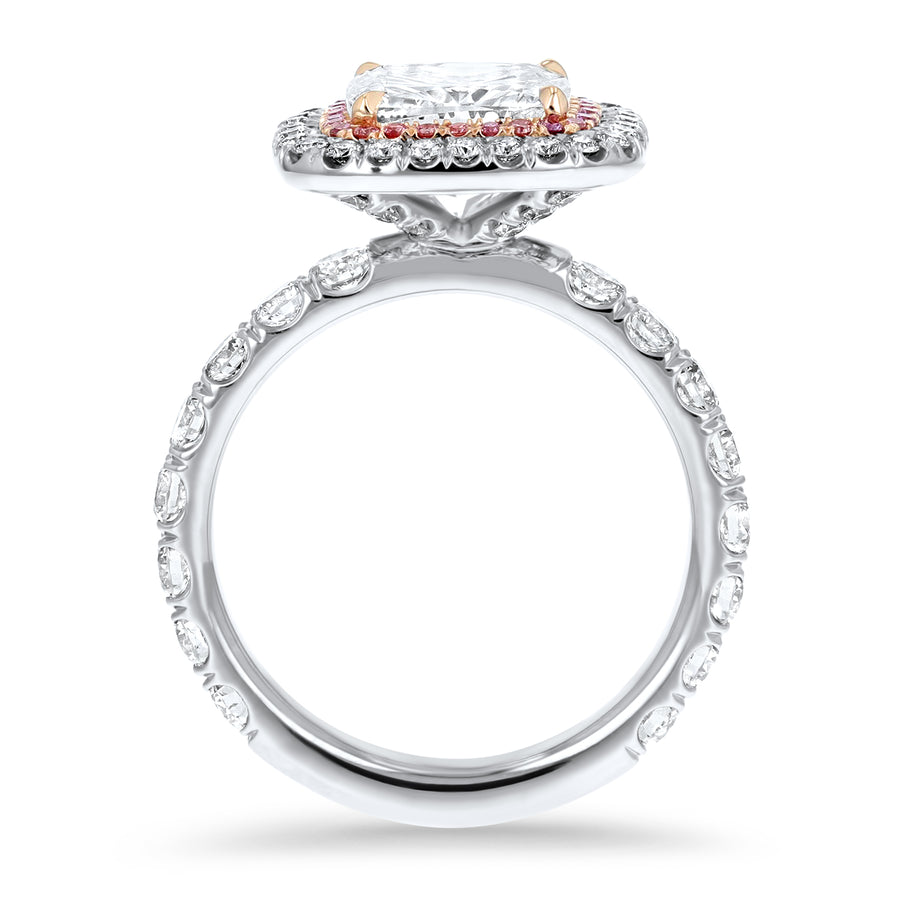 Two-Tone Cushion Cut Double Halo Pink Diamond Engagement Ring