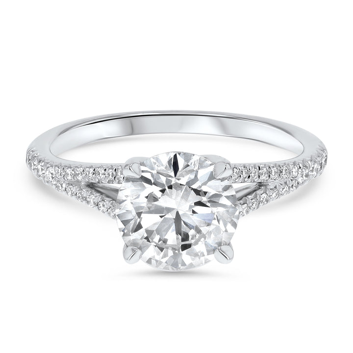 Round Brilliant Split Shank Pave Twist Gallery Engagement Ring - R&R Jewelers