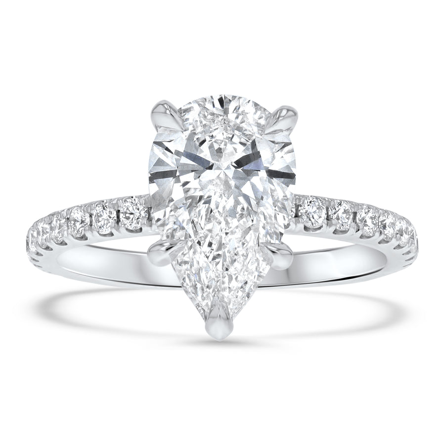 Pear Brilliant Hidden Halo Engagement Ring