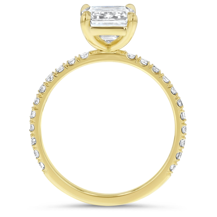 Emerald Cut Pavé Diamond Engagement Ring - R&R Jewelers