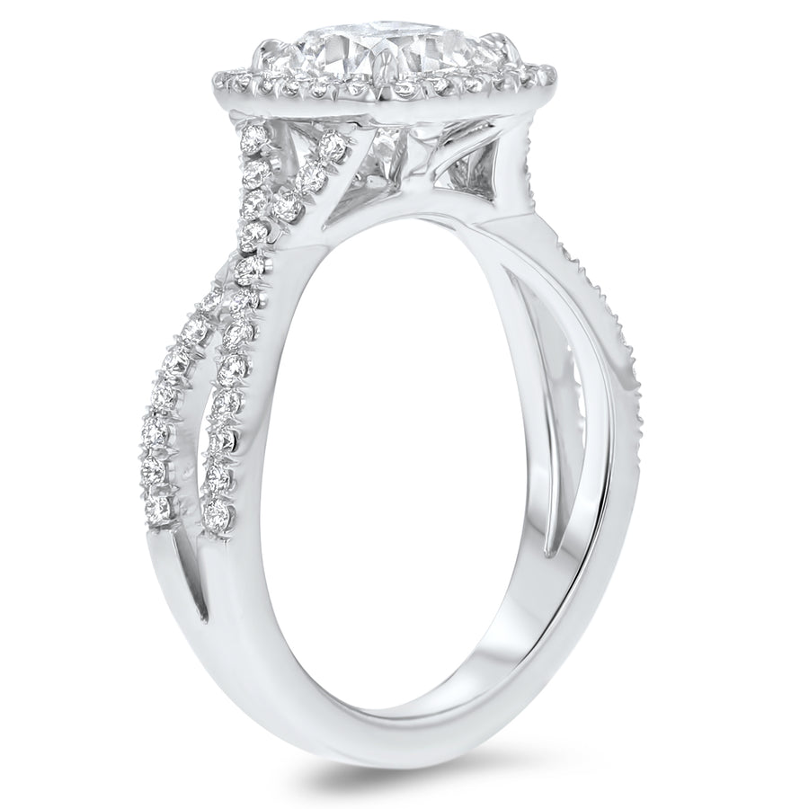 Cushion Halo Cathedral with Twisted Shank - R&R Jewelers